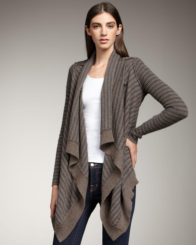 Splendid Striped Cascade Cardigan in Gray | Lyst