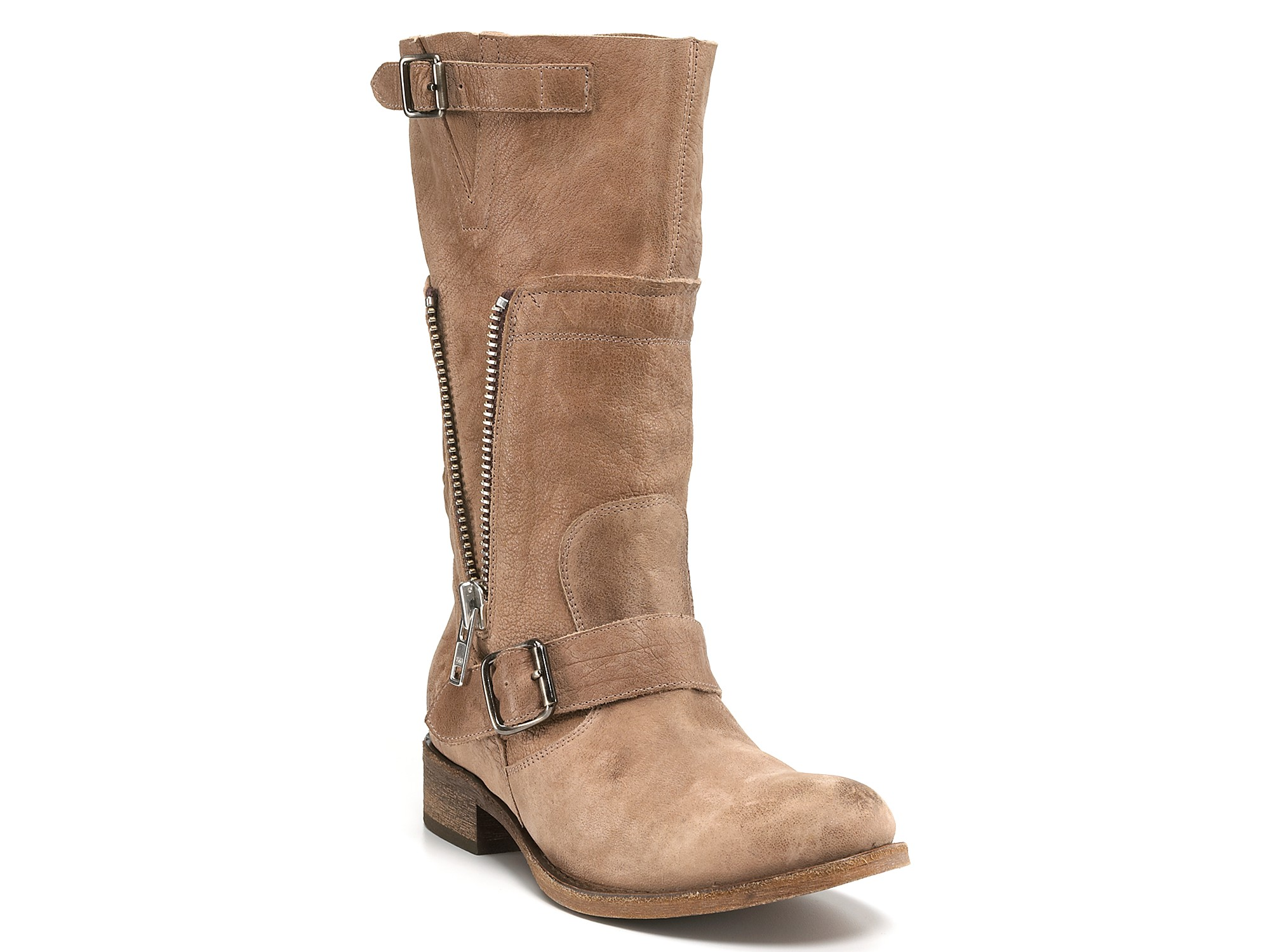 steve madden flat boots in beige taupe leather lyst
