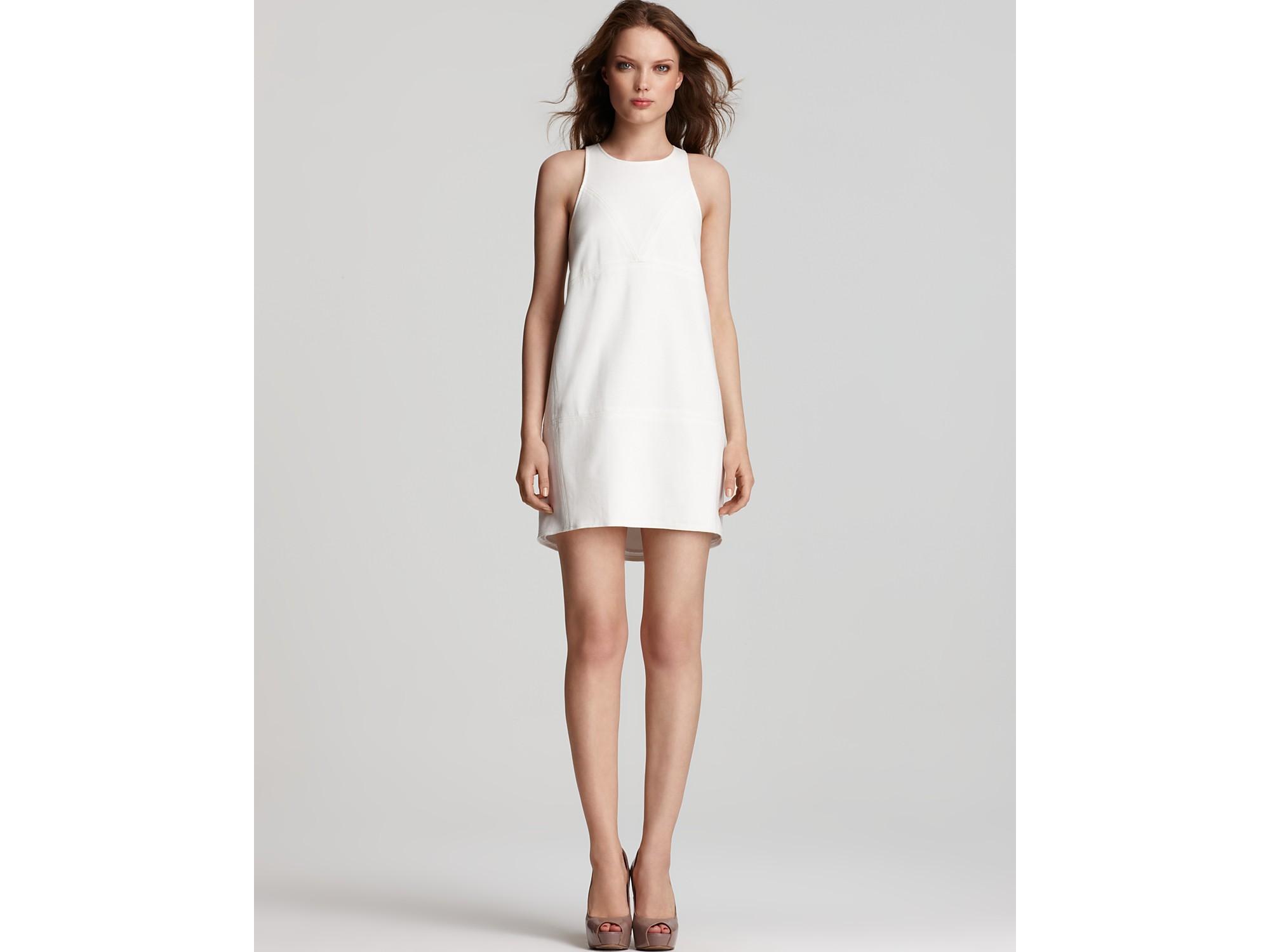 Tibi ponte shift dress white and black