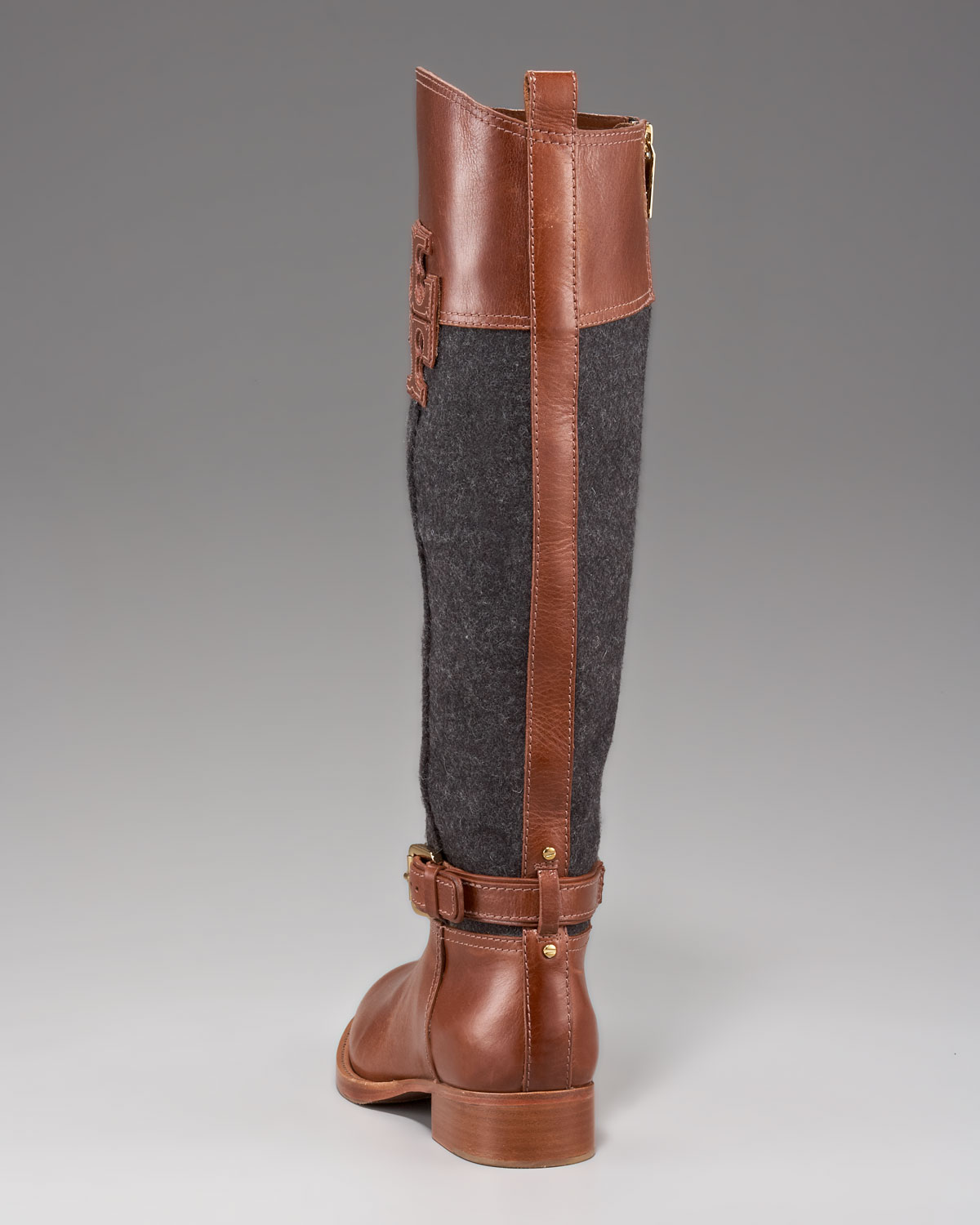b07dbfc3e7f0c ... spain lyst tory burch blaire leather flannel riding boot in brown 27f82  37dab