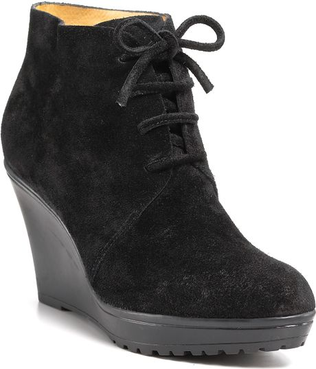 via spiga wedge booties in black black sport suede