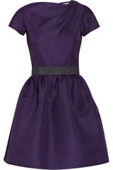 Victoria Beckham Belted Silk-gazaar Dress - Lyst