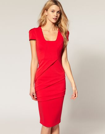 ASOS Collection Asos Pencil Dress with Square Neck - Lyst