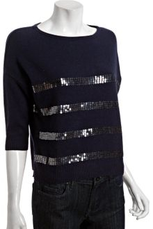 Autumn Cashmere Peacoat Sequin Stripe Cashmere Boat Neck Sweater - Lyst