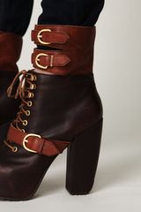 Free People Andee Platform Buckle Boot in Brown - Lyst