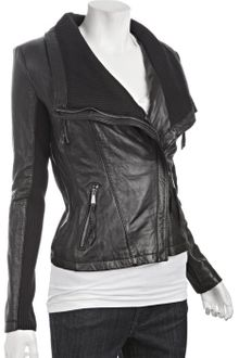 Michael by Michael Kors Black Leather Knit Trim Asymmetrical Zip Jacket - Lyst