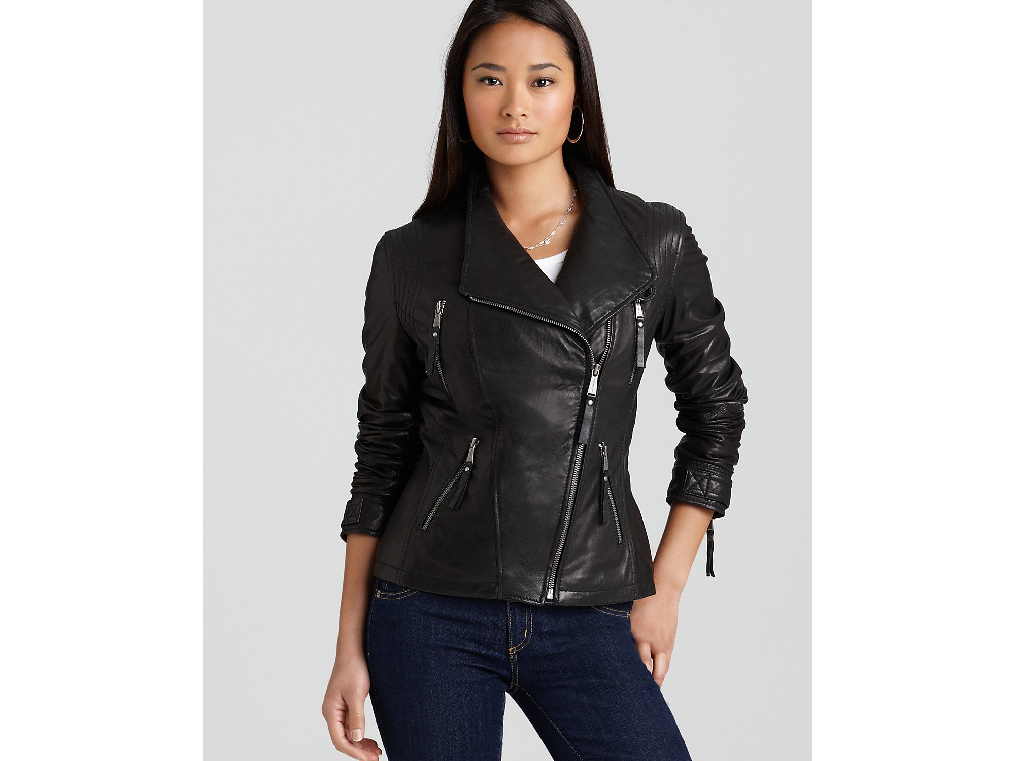 Michael kors black leather jacket women