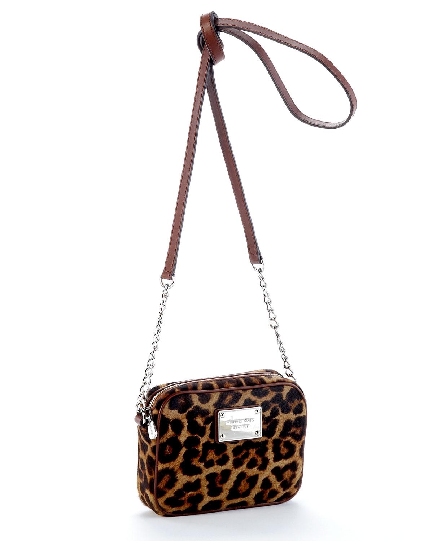 Lyst Michael Kors Jet Set Crossbody Leopard Calf Hair Handbags Animal Print