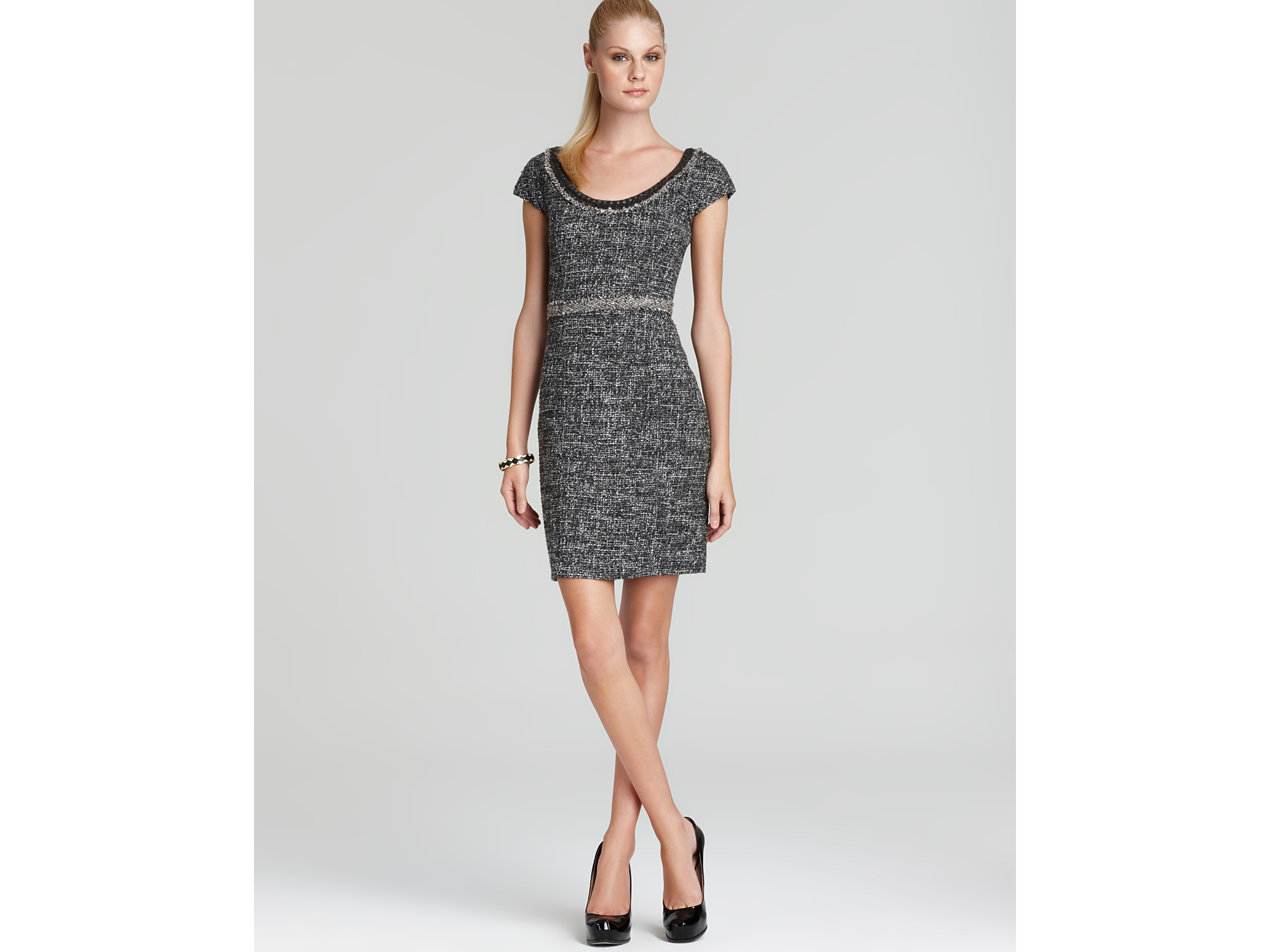 Rebecca taylor Cap Sleeve Sequin Bouclé Dress in Gray | Lyst