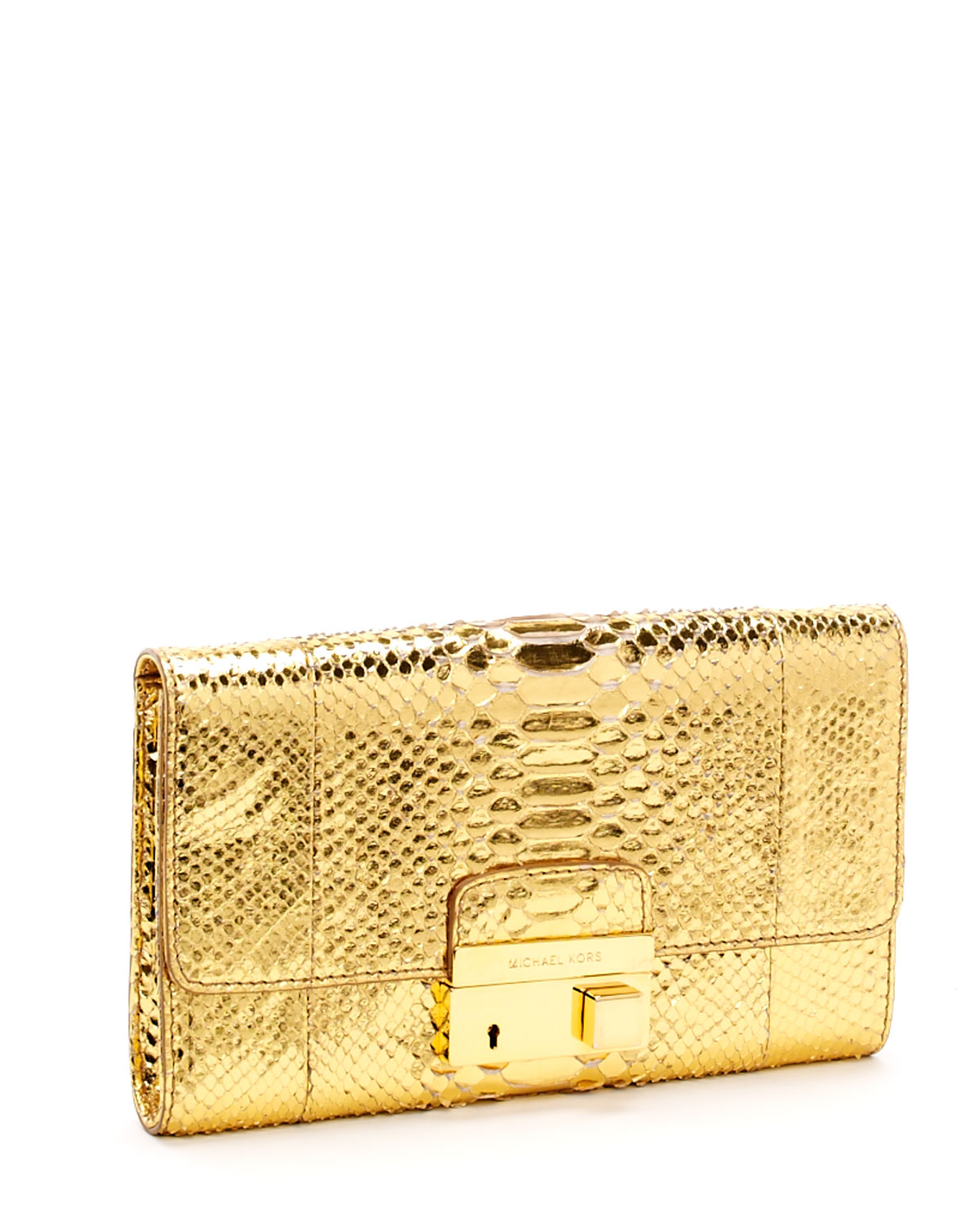 michael kors gold python gia clutch in metallic lyst. Black Bedroom Furniture Sets. Home Design Ideas
