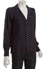 Heartloom Navy Dot Patterned Dallas Long Sleeve Blouse - Lyst