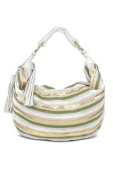 Fontanelli Cream Leather Striped Suede Gusset Hobo Bag - Lyst