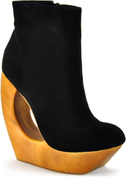 Jeffrey Campbell Rockaway  Black Suede Donut Wedge Bootie in Black - Lyst