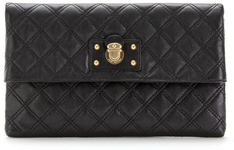 Marc By Marc Jacobs Large Eugenie Quilted Leather Clutch in Black - Lyst