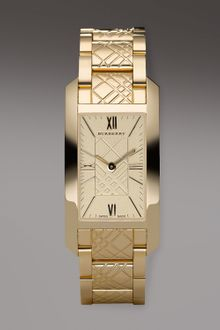 Burberry Watches Check-engraved Rectangular Watch, Golden - Lyst