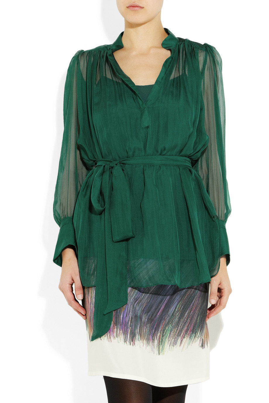 Catherine malandrino Ruched Silk-chiffon Blouse in Green | Lyst