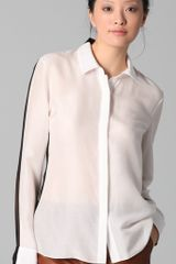 Cushnie Et Ochs Buttonup Blouse with Sheer Back in Black - Lyst
