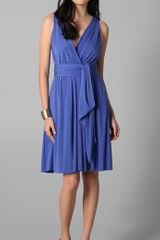 Halston Heritage Wrapped Bodice Dress with Sash - Lyst