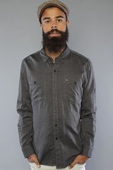 Obey The Merrick Buttondown Shirt in Charcoal - Lyst