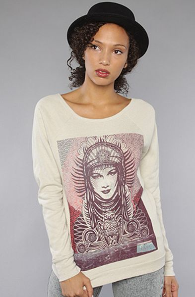 Obey The Paris Peace Goddess Printed Fleece In Heather