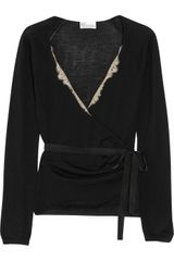 RED Valentino Lace-trimmed Wool Wrap Cardigan - Lyst