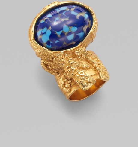 Yves Saint Laurent Arty Ovale Ring in Blue (marine) - Lyst