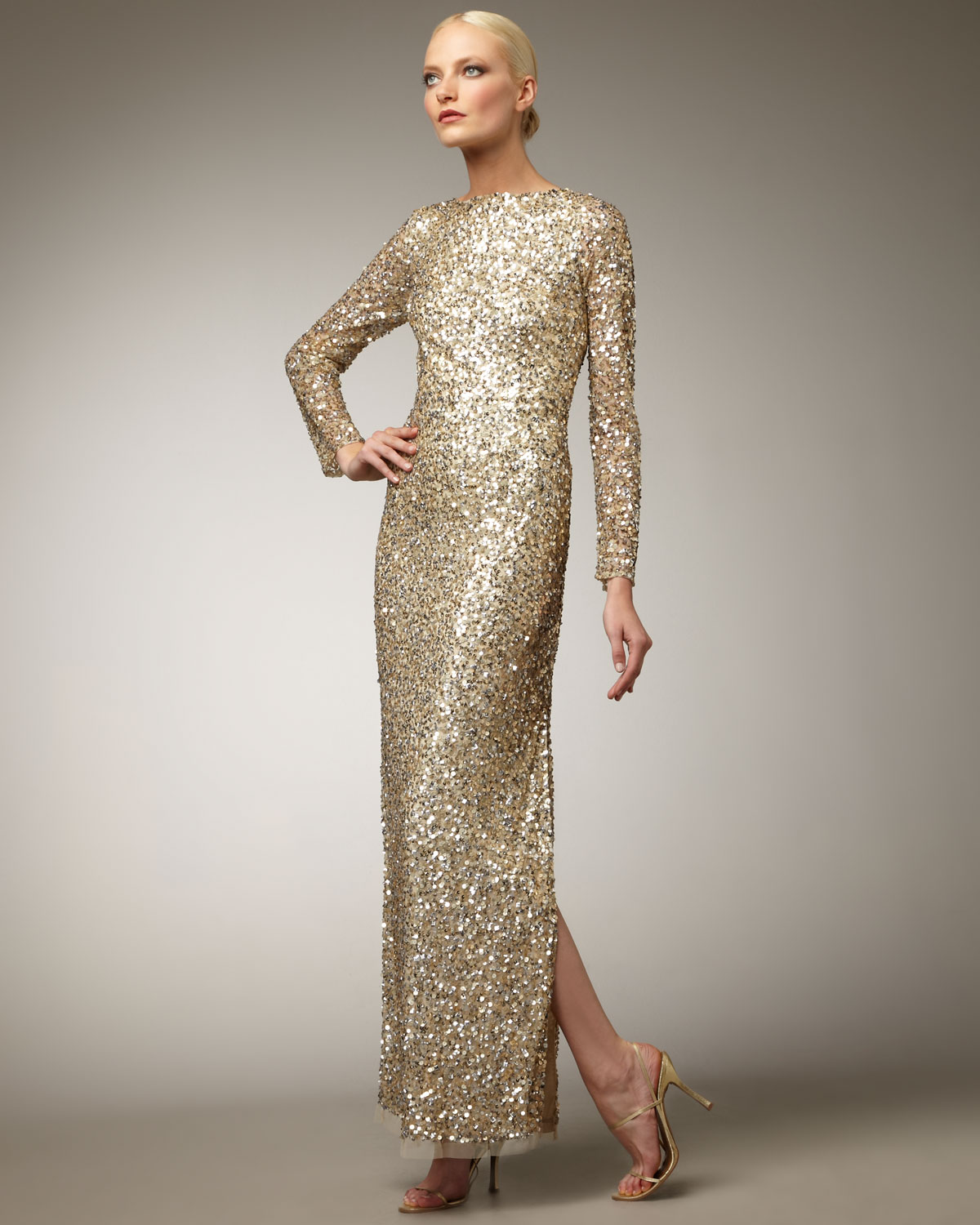Aidan Mattox Long-sleeve Sequin Gown in Brown - Lyst