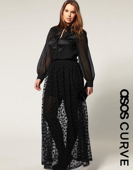 Asos Collection Asos Curve Maxi Skirt in Mesh Spot in ...