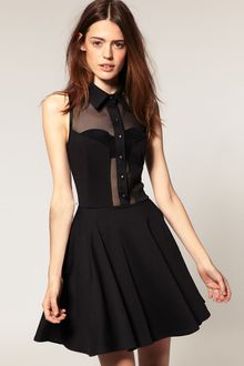 ASOS Collection Asos Skater Dress with Collar - Lyst