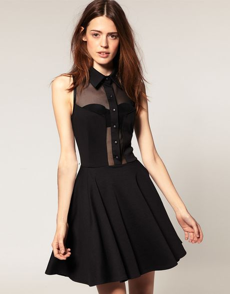 asos collection asos skater dress with collar in black lyst