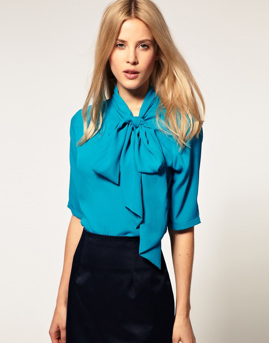 Asos Collection Blouse With Side Tie Pussybow In Blue Lyst
