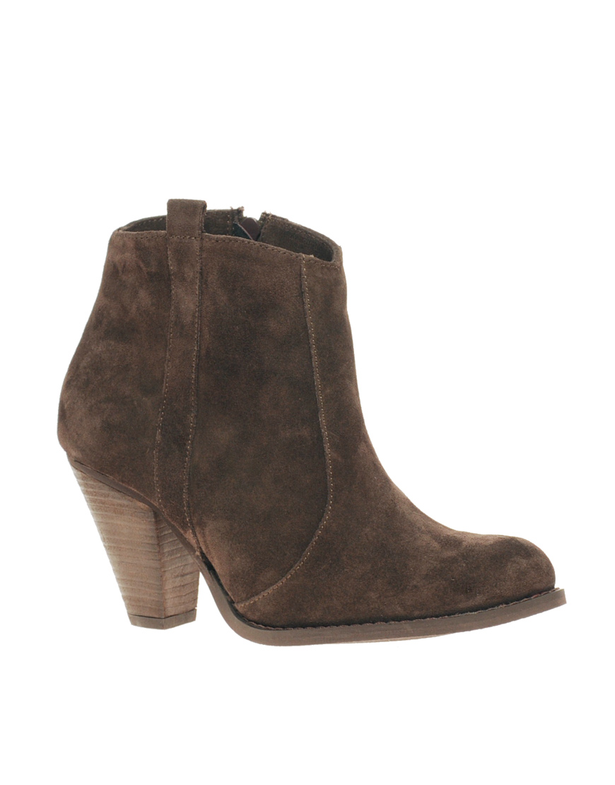 asos asos aggie suede pull on casual heel ankle boots in