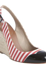Christian Louboutin Red and White Striped Chus 100 Cap Toe Slingback Wedges - Lyst