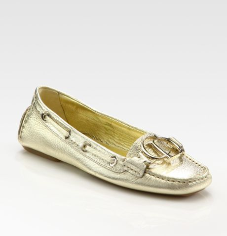 Dior Cd Metallic Leather Loafers in Gold - Lyst