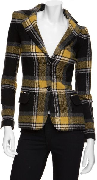 Exclusive For Intermix Exclusive Plaid Blazer with Leather Detail - Lyst