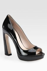 Miu Miu Patent Leather Peep Toe Flared Heel Pumps - Lyst