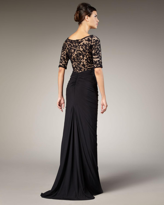 Lyst Tadashi Shoji Lace Bodice Gown In Black