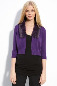 Vince Camuto Crop Cardigan with Faux Fur Trim - Lyst