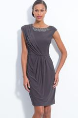 Adrianna Papell Beaded Draped Jersey Sheath Dress - Lyst