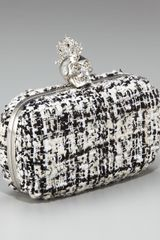 Alexander Mcqueen Heraldry Skull Tweed Box Clutch in Gray (black white) - Lyst