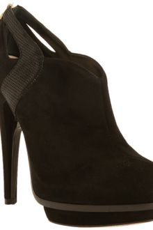 Fendi Black Suede Cutout Platform Booties - Lyst