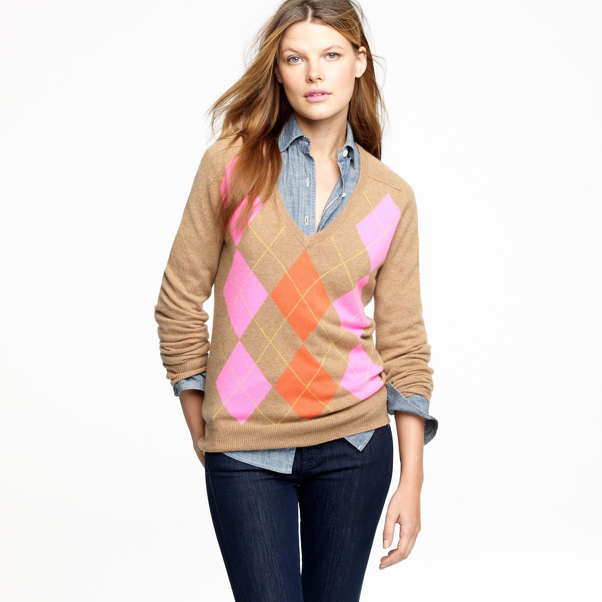 J.crew Cashmere Clash Argyle Sweater in Natural | Lyst