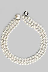 Majorica White Pearl Three-Row Necklace