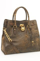 Michael by Michael Kors Hamilton Large Tote, Mocha Distressed - Lyst