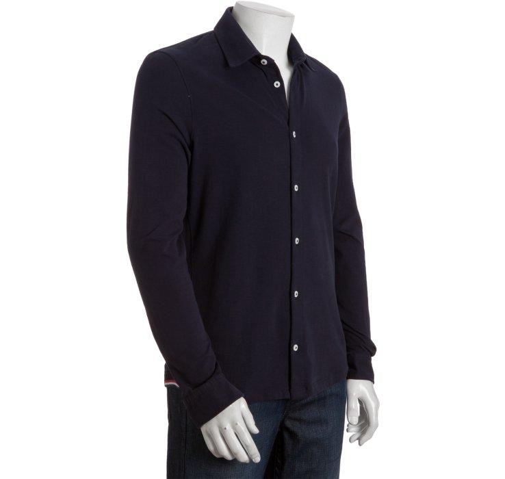 Moncler Gamme Bleu Navy Cotton Knit Button Down Shirt In