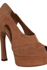 Yves Saint Laurent Tan Suede Palais 105 Platform Pumps - Lyst