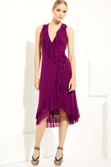 Jean Paul Gaultier Ruffle Wrap Dress - Lyst