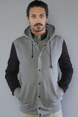 Kr3w The Morrison Snap Up Hoody in Grey - Lyst