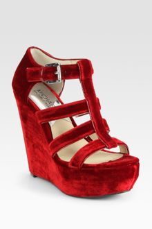 Michael by Michael Kors Faye Suede Platform Wedge Sandals - Lyst