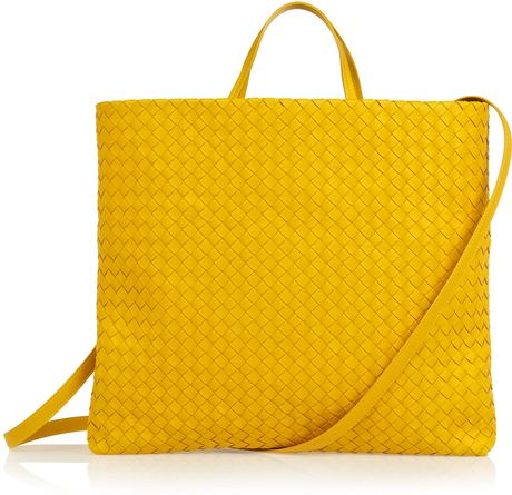 Bottega Veneta Intrecciato Leather Tote in Yellow